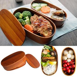 Double Layer Natural Wooden Bento Lunch Box Containers Japanese Bento Lunchbox Sushi Portable Food Container Workers Student