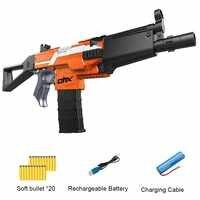 Rifle de ráfaga eléctrica pistola de juguete para pistola para niños traje para Nerf con 20 piezas balas blandas EVA regalo de Navidad para niños