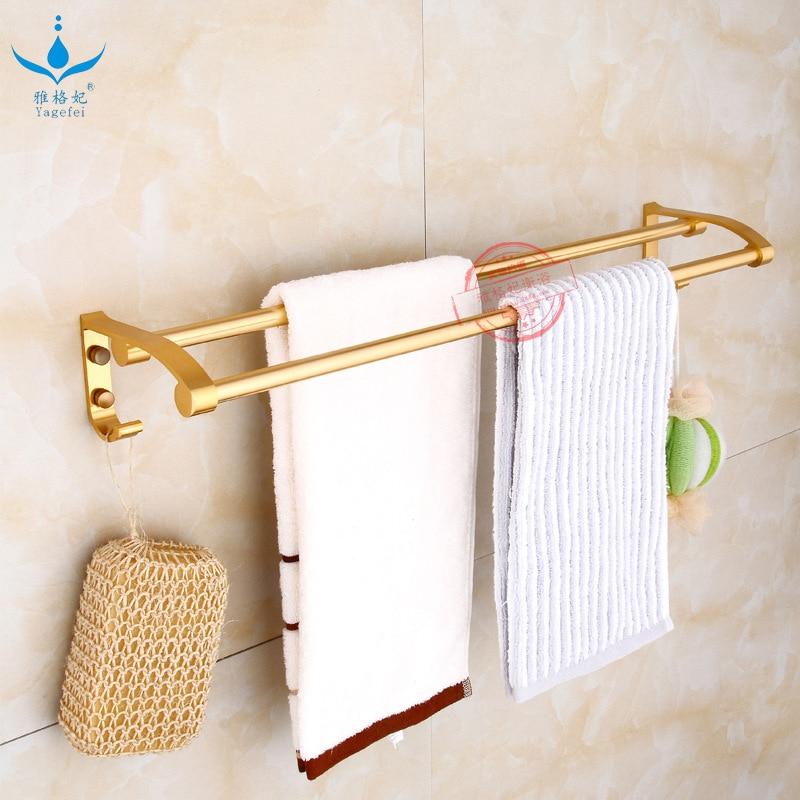 60 Cm Rough Luxury Gold Color With Hook Double Bar Towel Rack Alumimum Double Poles Towel Rack Bathroom Hook Unit 80 Double Pole