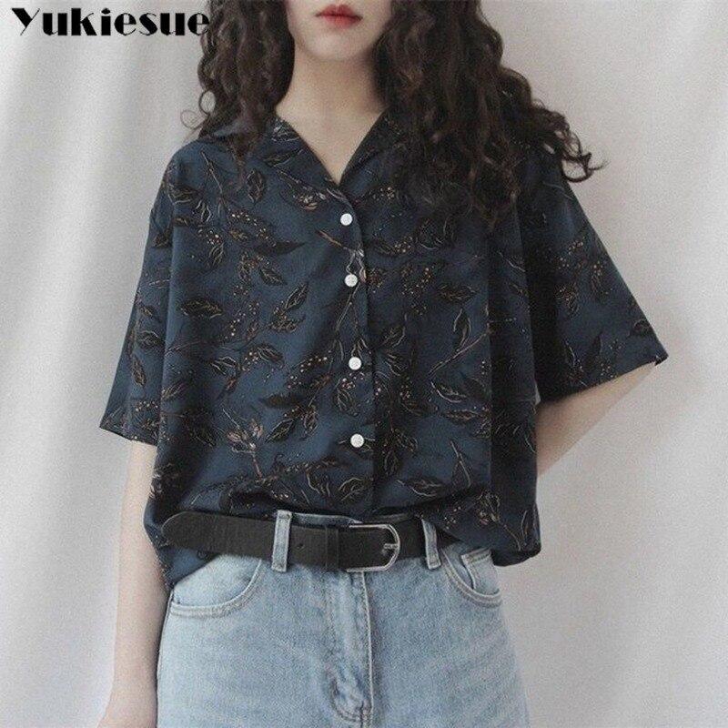 Женская винтажная рубашка с принтом, модная женская рубашка в Корейском стиле Harajuku, уличная летняя элегантная женская одежда 2020