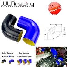"""Frete grátis preto/azul 2.0 """"51mm/2.5 63 63mm / 3 76 76mm 90 graus 45 graus cotovelo tubo de mangueira de silicone turbo admissão"""