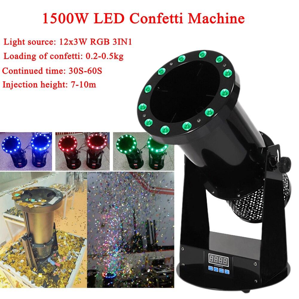 Livraison gratuite de haute qualité 1500W Led mariage confettis canon Machine mariage Machine confettis Machine pour scène de fête