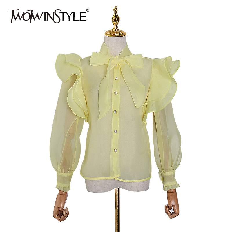 TWOTWINSTYLE Patchwork Ruffle Shirts For Women Lantern Long Sleeve Casual Perspective Elegant Blouse Female 2020 Spring Fashion