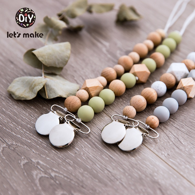 Let's Make Silicone Beads Wood Metal Nipple Clip PVC Free 1PC Bracelet For Nipples Personalized Pacifier Chain Wooden Teether