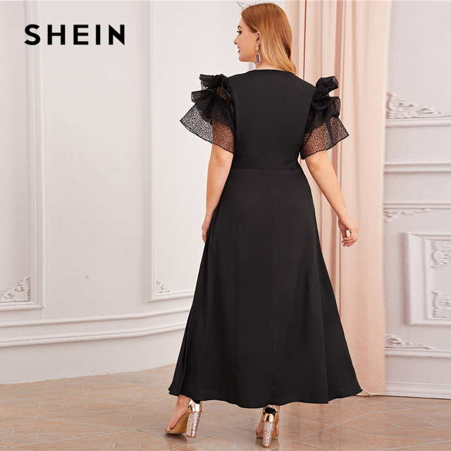 SHEIN Plus Size Black V Neck Exaggerated Ruffle Surplice Flared Party Dress Women Autumn Short Sleeve Ladies A Line Maxi Dresses 1