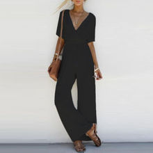 Fashion Women Ladies Clubwear V Neck Playsuit Casual Loose Short Sleeve Party Jumpsuit