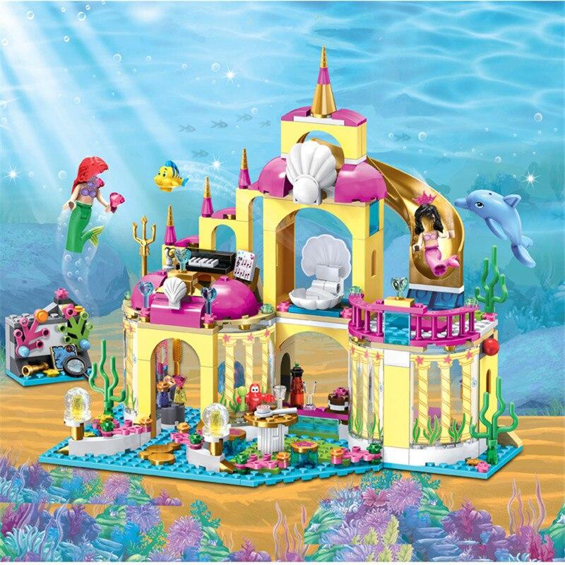 Legoinglys 41063 niña princesa sirena Ariel Palacio submarino bloques de construcción de bloques de juguete niñas amigos bloques Juguetes Princesa Cenicienta Elsa Anna sirena Ariel Castillo figura de bloques de construcción chica amigos ladrillos Juguetes