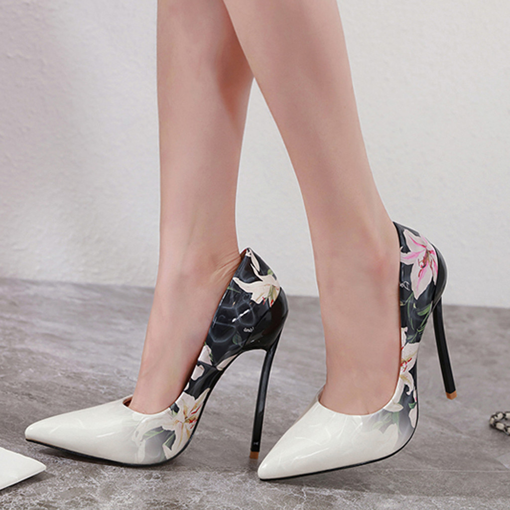 Woman Shoes High Heels Sexy Pumps Summer Womens High Heels Flower Stileto Pointed Single Shoes Ladies Sexy Working Shoes#g3