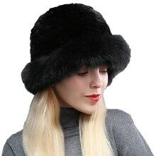 Женский Настоящий мех кролика Кепка с покрывалом с лисьим мехом краями зимние теплые русские шапки наушники головные уборы для женщин