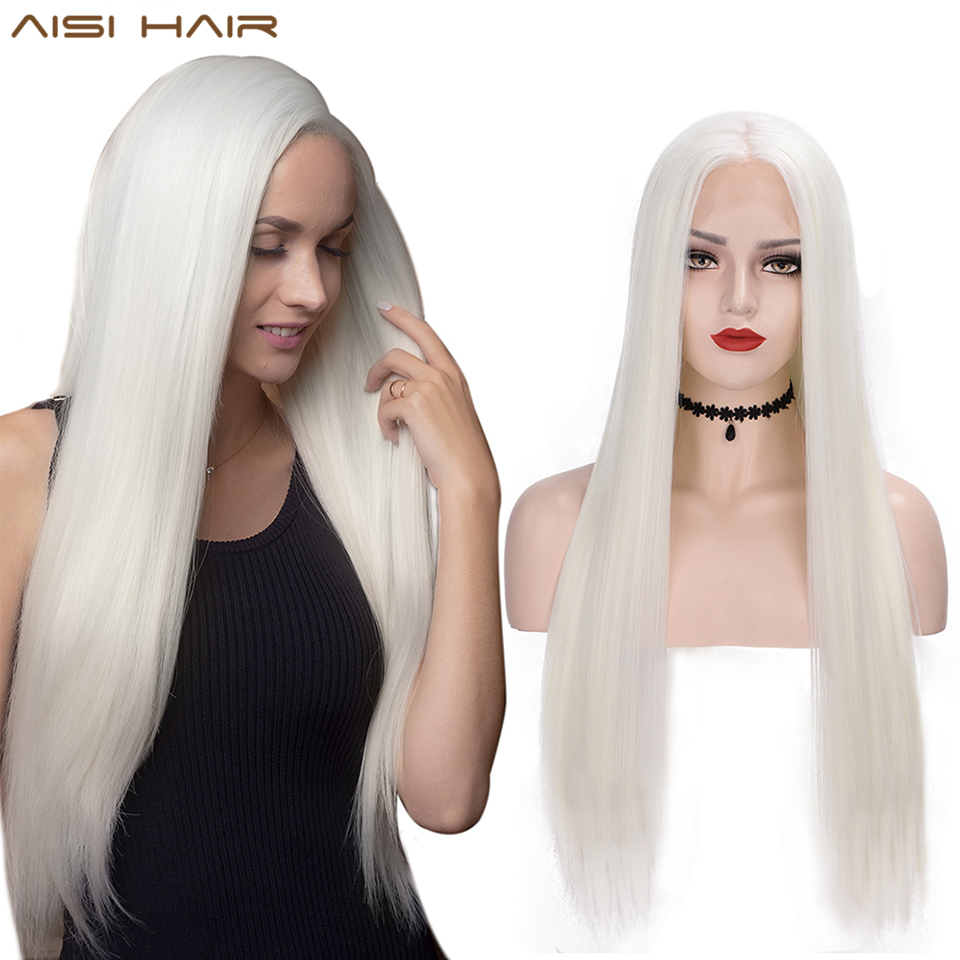 AISI HAIR White Synthetic Lace Front Wig Long Straight Wigs For Women 24Inch Middle Part Black Red Cosplay or Party Wigs 13X4Synthetic Lace Wigs   -