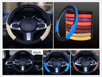 Auto parts Leather weaving steering wheel cover 38 cm or 15 inches for BMW all series 1 2 3 4 5 6 7 X E F-series E46 E90 F09 image