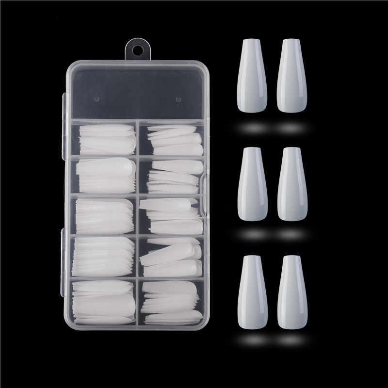 100 шт./кор. искусственный пресс для ногтей на длинной балерины, прозрачный/натуральный/белый накладные ногти на гробу, художественные советы, полная крышка, ювелирная коробка