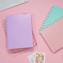 A4 color PP Notepad High School College Student Classroom Notebook Candy Color Softcopy Mushroom Hole Ring Disc Diary Business(China)