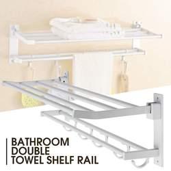 Alumimum 2 слоя складной держатель для полотенец для ванной комнаты настенная вешалка для хранения кухонных полотенец для гостиниц полка для од...