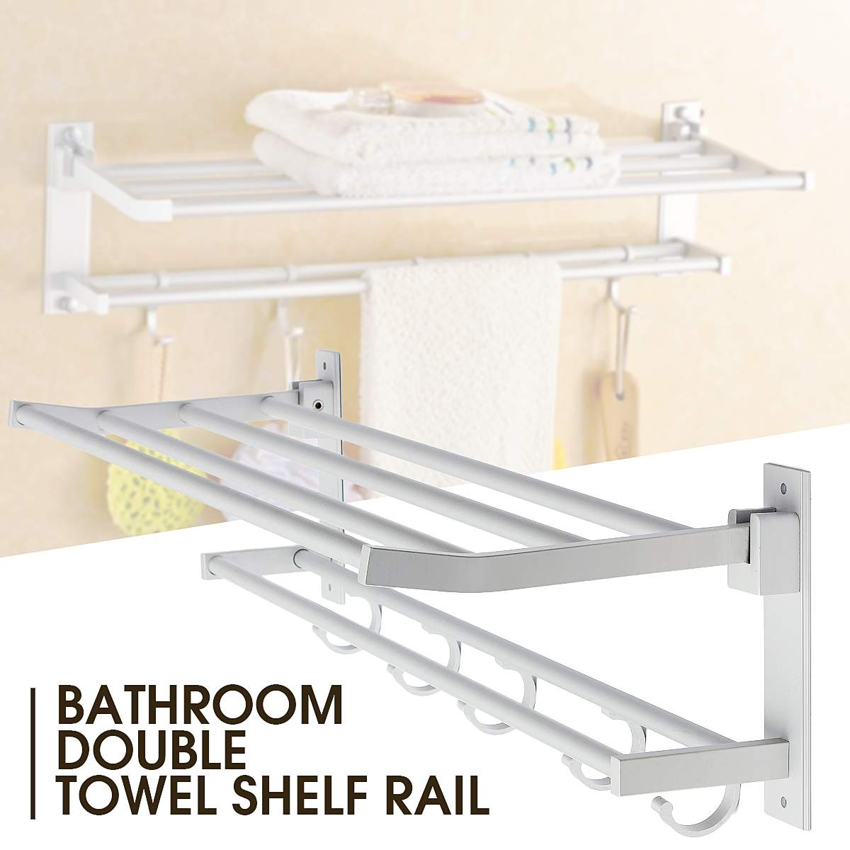 Alumimum 2 Layer Foldable Bathroom Towel Rack Holder Wall Mounted Storage Hanger Kitchen Hotel Towel Clothes Shelf With 5 Hooks