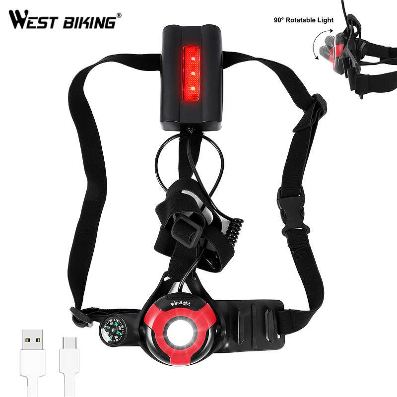 500 люмен наружные ходовые огни Поддержка камеры вращающийся L2 светодиодный ночной фонарь для бега предупреждающие огни USB зарядка нагрудная лампа
