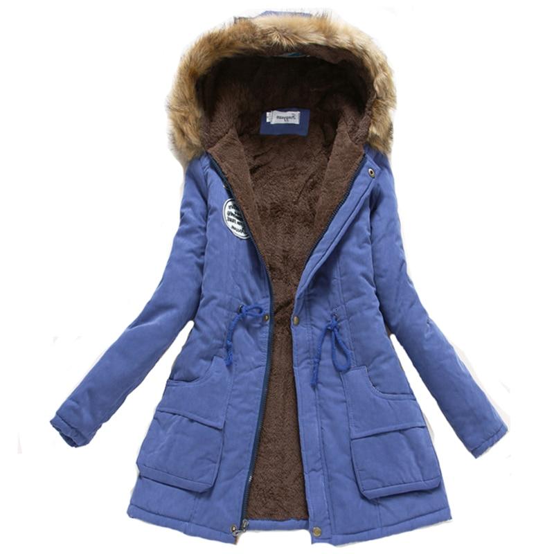 Women Winter Warm Coat Female Autumn Hooded Cotton Fur Plus Size   Basic     Jacket   Outerwear Slim Long Ladies chaqueta