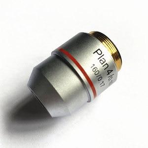 Image 1 - Lente objetiva do plano de fio padrão rms, lente objetiva 4x 160/0.17 para microscópio biológico