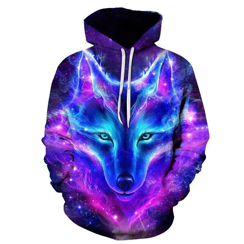 Фиолетовый волк толстовка мужская 3D принт Толстовка брендовая Толстовка для мальчика качественный пуловер модная спортивная уличная