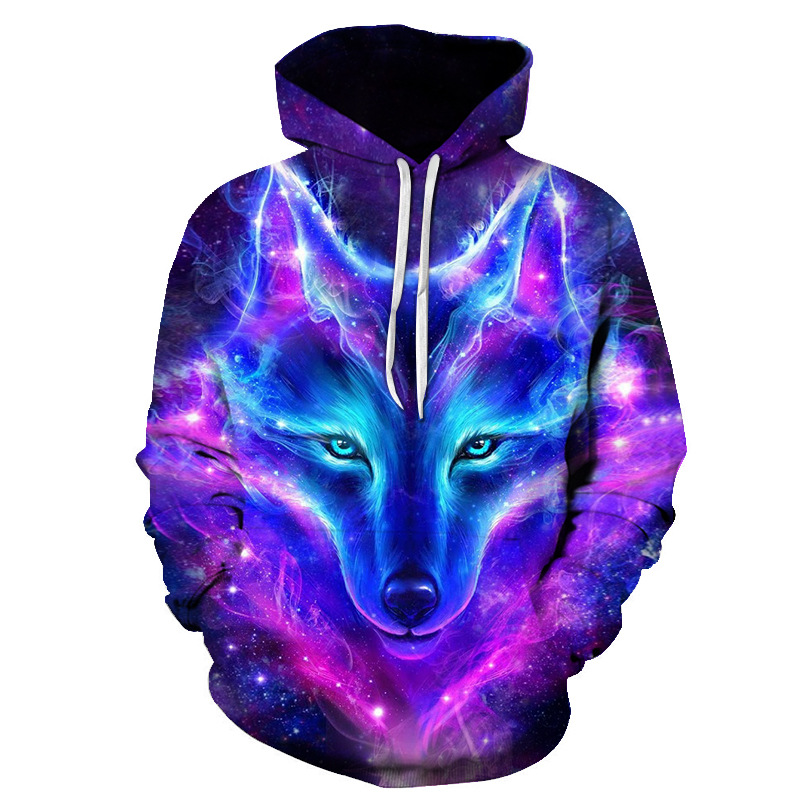 Purple Wolf Hoodie Men's 3D Print Hoodie Brand Sweatshirt Boy Quality Pullover Fashion Sportswear Animal Street Clothing Autumn