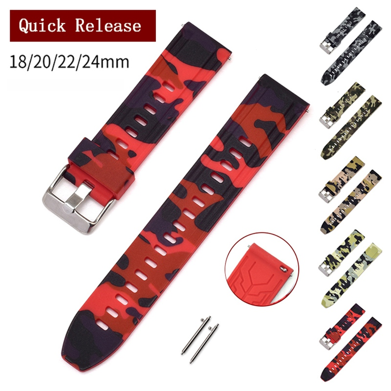 Universal 22mm 24mm 26mm Camouflage Colorful Rubber Watch Band For Men's Watch Watch Strap For Samsung Gear S3 Classic Panerai