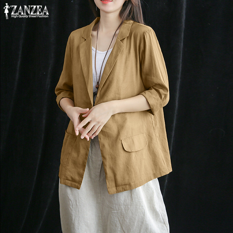 ZANZEA 2019 Elegant Cotton Coats Women's Blazers Fashion Casual 3/4 Sleeve Shirts Female Single-button Jackets Plus Size Tunic