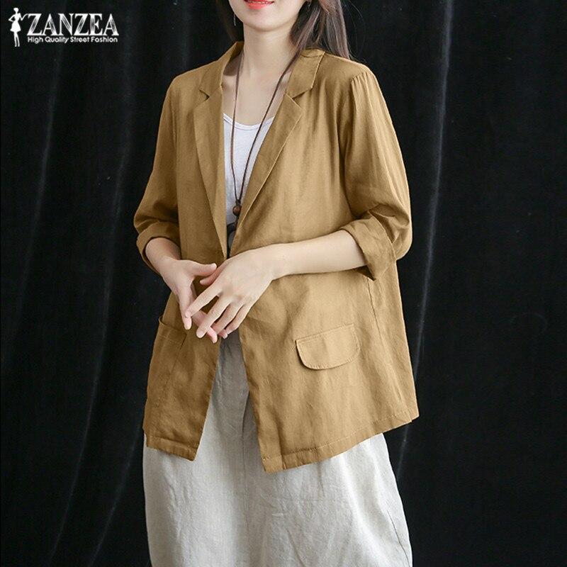 ZANZEA 2020 Elegant Cotton Coats Women's Blazers Fashion Casual 3/4 Sleeve Shirts Female Single-button Jackets Plus Size Tunic