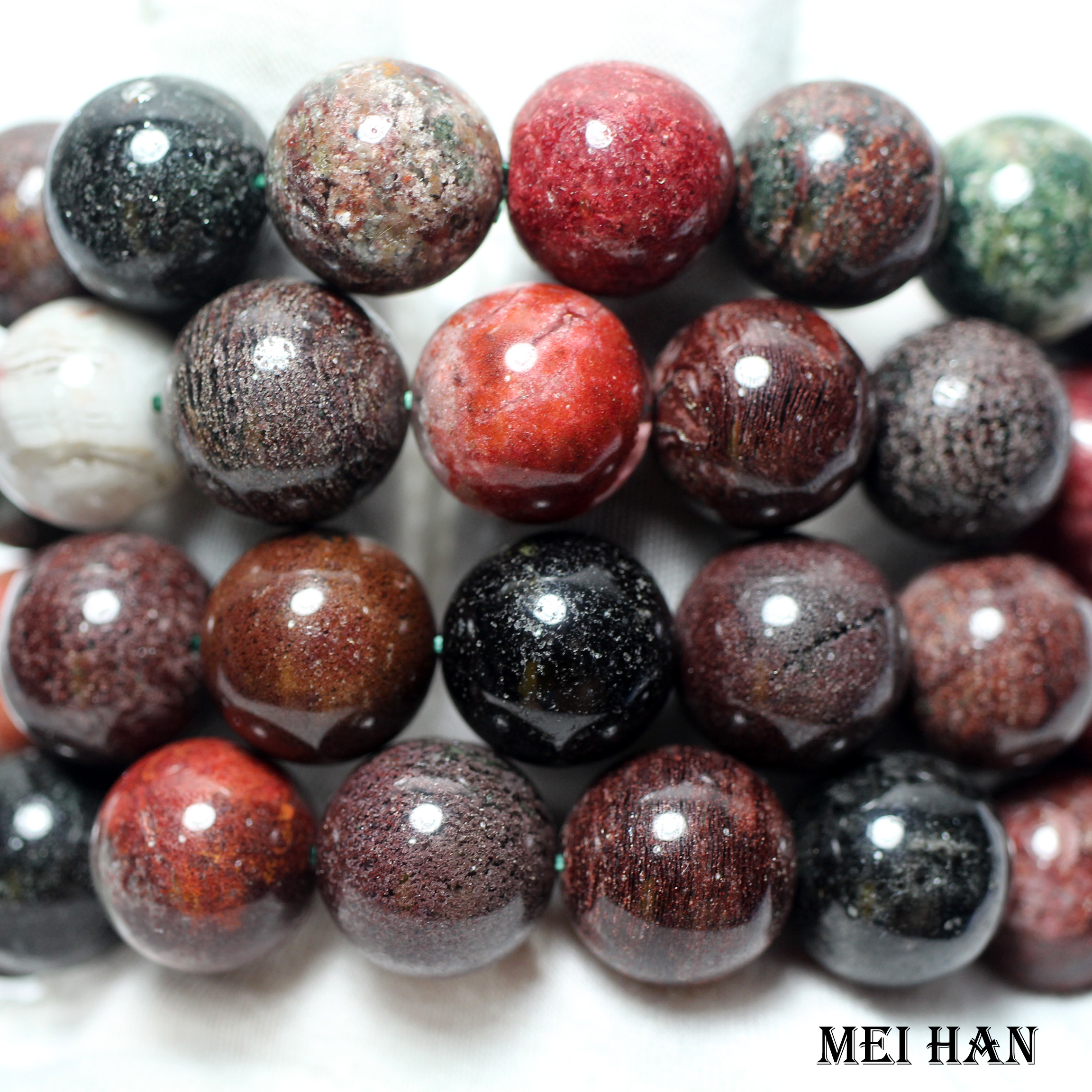 Wholesale 14beads set 80g 16 16 8mm genuine Brazil colorful phantom bracelet smooth round crystal for