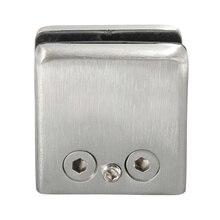 4Pcs Stainless Steel Square Clamp Holder Bracket Clip For Glass Shelf Handrails Silver