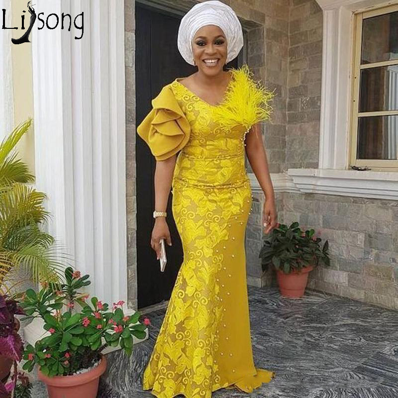 African Mermaid Lace Prom Dresses 2020 Yellow Pearls Long Feather Formal Party Gowns Plus Size V Neck Short Sleeve Evening Dress