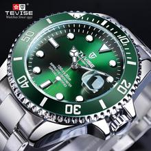 TEVISE Green Bezel Fashion Sport Waterproof Automatic Mechanical Watches Top Brand Luxury Calendar Luminous Male Clock Relogio