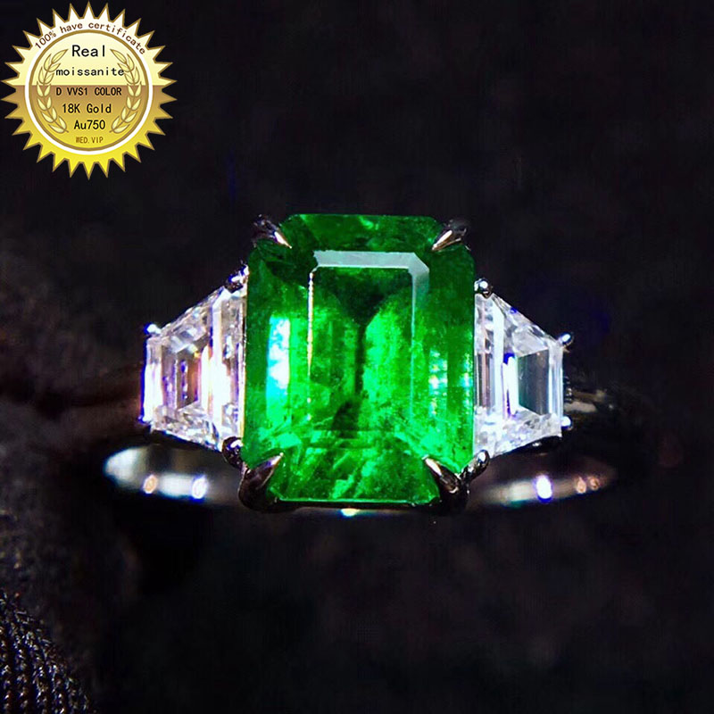 9K Gold Lab Created 2ct Emerald and 0.5ct Moissanite Diamond Ring With national certificate Em-002