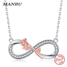 MANBU New Arrival Infinity symbol pendant necklaces 925 sterling silver necklace for women anniversary gifts chain 2019