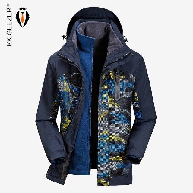 แจ็คเก็ตผู้ชายฤดูหนาวกันน้ำ Streetwear ทหารหลวมเสื้อคลุมเสื้อ 2019 ขนาดใหญ่ยี่ห้อขนแกะให้อบอุ่นความร้อนคลุมด้วยผ้า Windproof ที่มีคุณภาพสูงรัสเซียหิมะเสื้อกันลมสีฟ้าเสื้อกันลม Parkas ท่อ