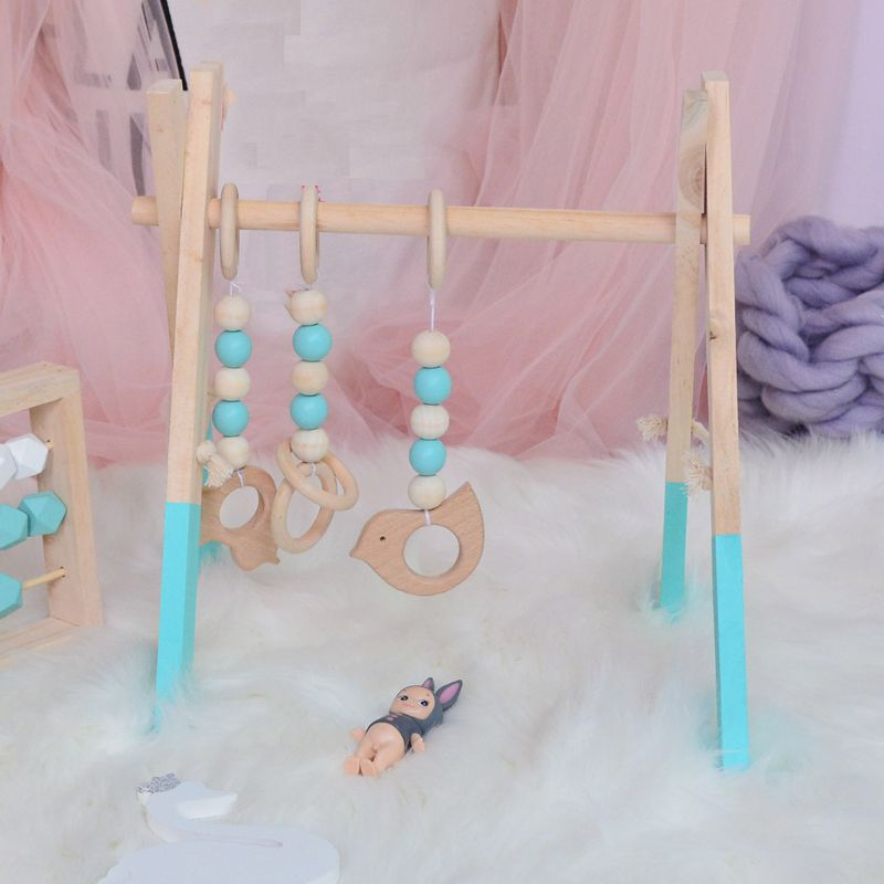 Baby Wooden Play Gym Baby Foldable Activity Gym Frame Detachable Living Kids Bedroom Decoration Early Educational Toys