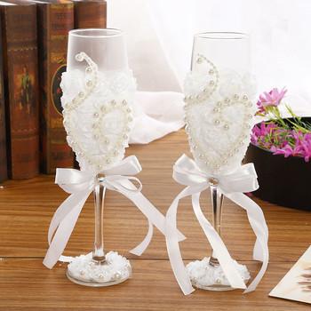 1 para ślubna lampka do wina kieliszek do szampana kieliszek do czerwonego wina biała koronka szklany kieliszek do czerwonego wina dekoracja ślubna kubek tanie i dobre opinie CEOOCEO ROUND Ce ue Szkło Koktajl szkła Ekologiczne Transparent Carton wedding 101-200ml