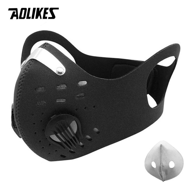 AOLIKES Sport Face Mask With Activated Carbon Filter PM 2.5 Anti Pollution MTB Bike Training Mask Anti Smog Cycling Mask