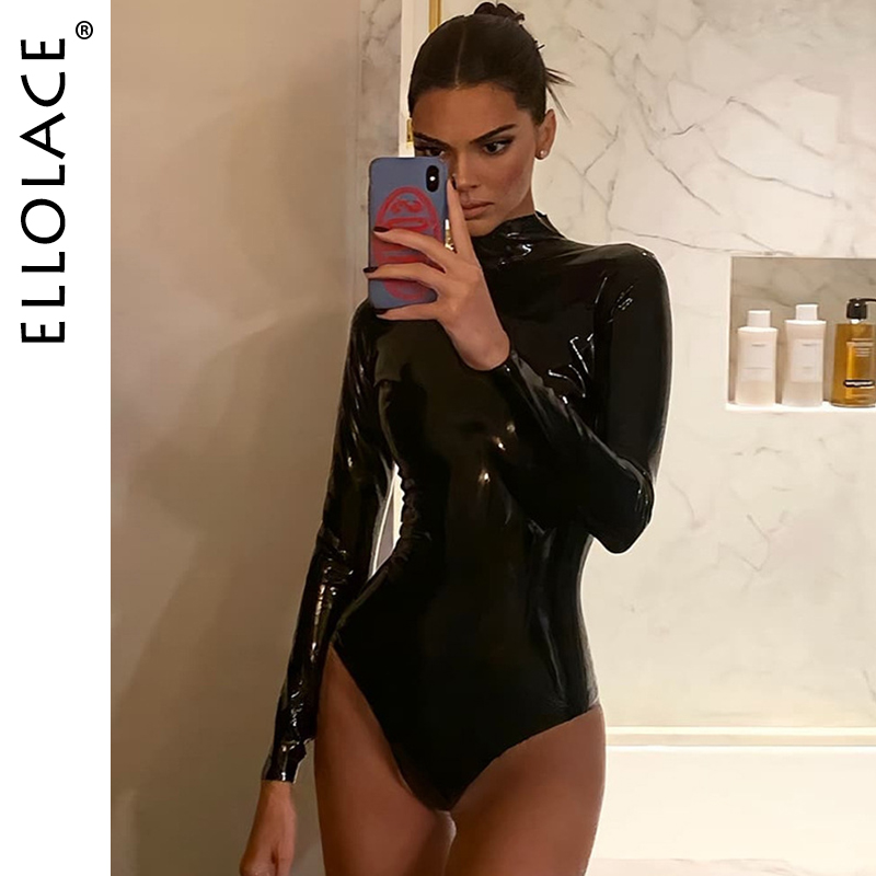 Ellolace Pu Leather Body Black Bodysuit Women Long Sleeve Short Jumpsuit Female Sexy Bodycon Rompers Basic Solid New Pu Overalls