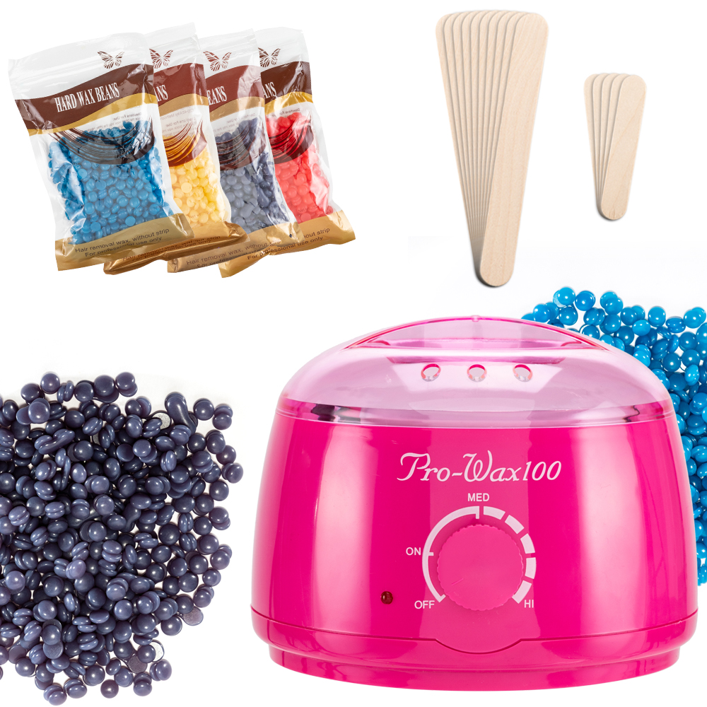 New Salon Spa Hair Removal Special Mini-multifunctional Nonstick Pot Wax Heater Machine 4 Packets Of Wax Beans Rose Red