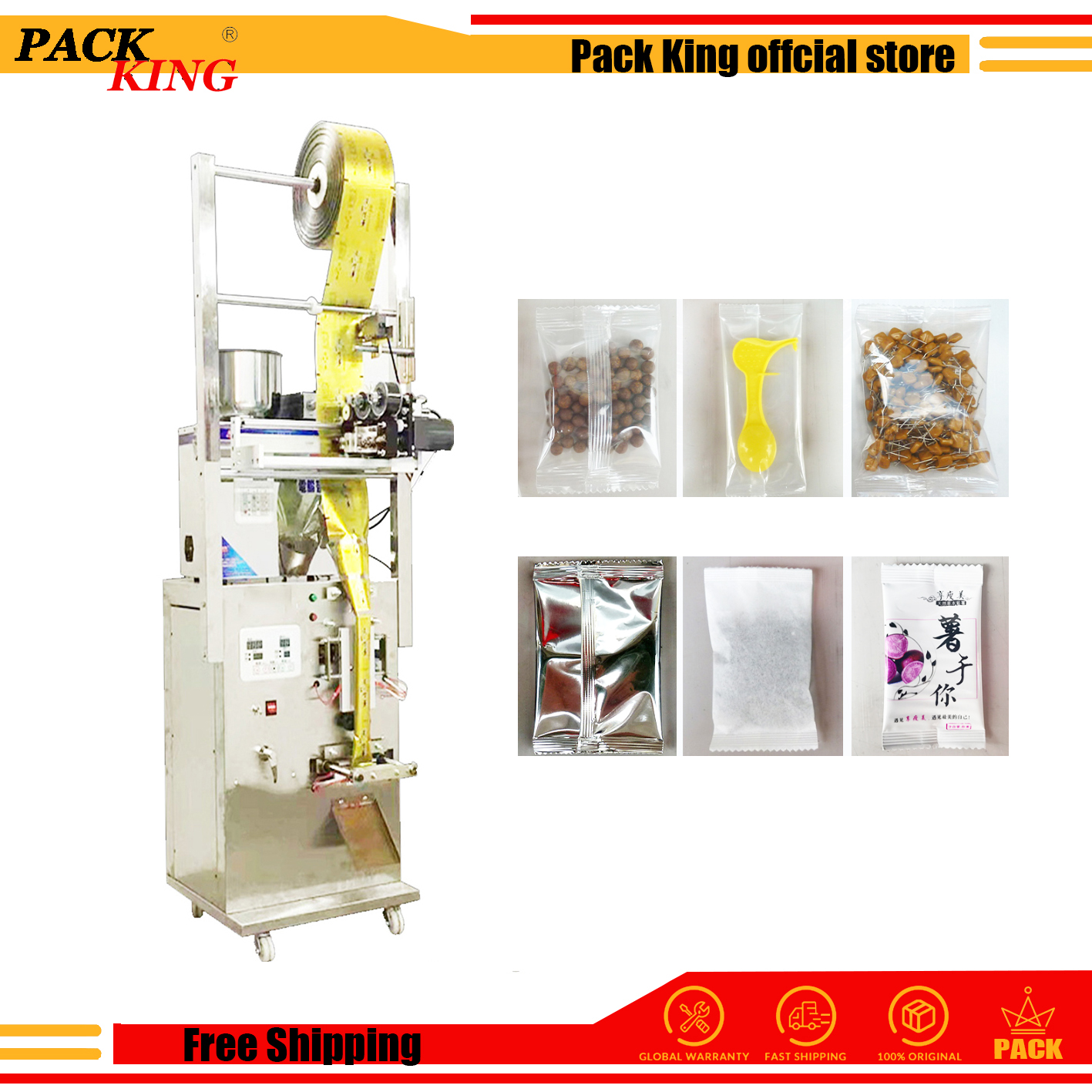 Bags Back Sealing Packing Machine Herb Filling And Weighing Food Tea Leaf Powder Grain Medicine Snacks Pack Seal