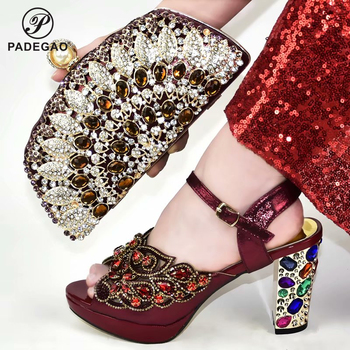 Shinning Quality Classics Women Shoes and Bag to Match Concise African Lady Shoes and Bag Set with Crystal For Wedding