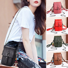 PU Leather Women Crossbody Bag Mini Mobile Phone Pouch Messenger Shoulder Bag New women s new leather mini mobile phone bag casual children s leather mini mobile phone bag