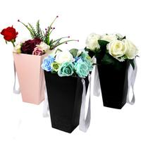 Fashion Hugs Barrels Flower Bouquet Box Popcorn Bucket Shop Gift DIY Vase With Handhold Hug Bucket Rose Florist Gift