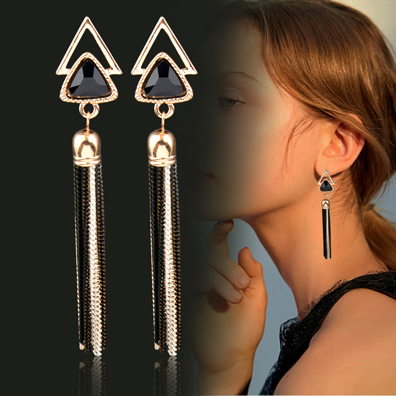 SINLEERY Black Blue Red Triangle 85mm Long Tassel Dangle Drop Earrings For Women Wedding Party Jewelry ES574 SSK