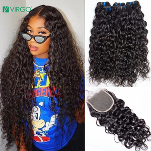 Virgo Malaysian Water Wave 3 Bundles with Closure Human Hair Bundles with Closure 4X4 5X5 Closure Non Remy Hair Weave 4 Pcs /lot(China)