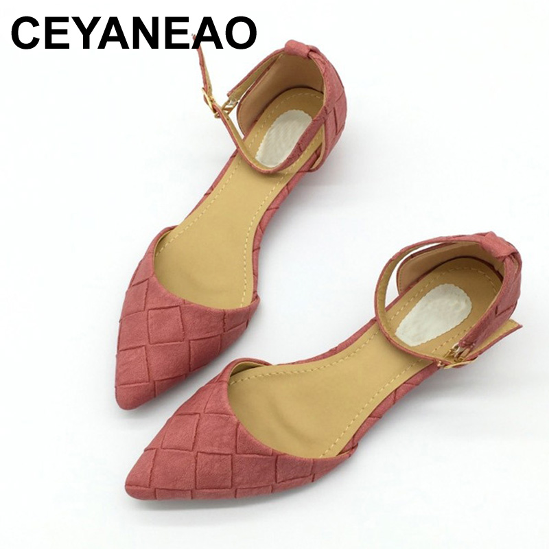 CEYANEAO  2018 Vintage PU Women D'Orsay Flats Shoes Sexy Pointed Toe Woman Casual Low Heel Basic Flats Casual Loafers Gray