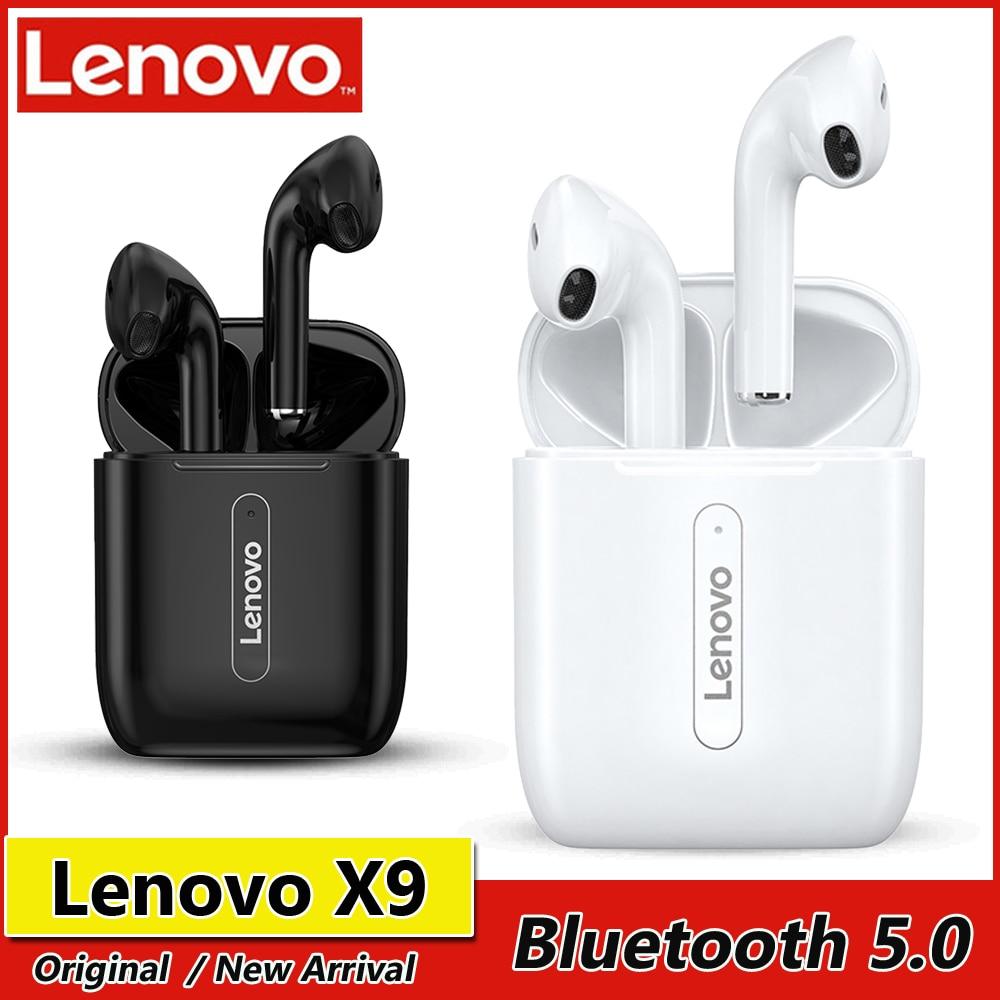 Lenovo X9 TWS наушники Bluetooth 5,0 наушники настоящие Беспроводные наушники с сенсорным управлением спортивная Гарнитура с зарядным чехлом