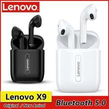 Lenovo x9 tws fones de ouvido bluetooth 5.0 verdadeira sem fio toque controle sweatproof esporte fone com caso carregamento