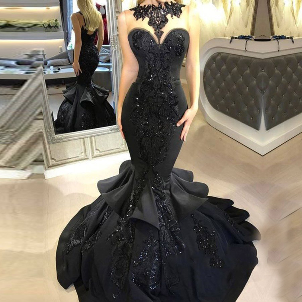 Nude Tulle Black Mermaid Prom Dress Luxury Sleeveless Beading Formal Dresses Long Evening Party Gowns Vestido Gala Largo 2020