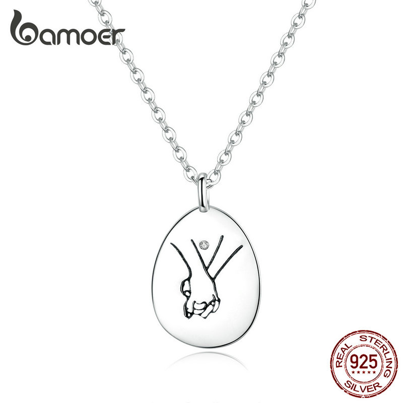 bamoer Pendant Necklace for Women Authentic 925 Sterling Silver Hand by Hand Round Chain Neckalces Collar Gifts for Her SCN363